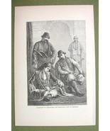 TURKEY Costume of Muslim Mussulman Men & Ladies - 1880s Antique Print - $12.38