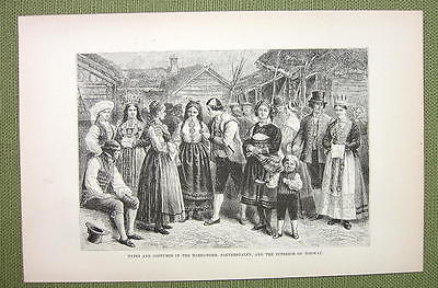 NORWAY Costume People of Hardanger Saetersdalen - 1880s Antique Print