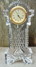 Waterford Ireland Crystal Desk Mantel Grandfather Gold Face Clock Stunning - $65.00