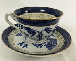 Tea Cup Set Blue White & Gold Occupied Japan Iron Stoneware Nikko Double... - $24.99