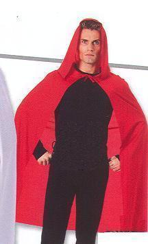 "RED HOODED CAPE NICE FOR RED RIDING HOOD 45"" LONG"