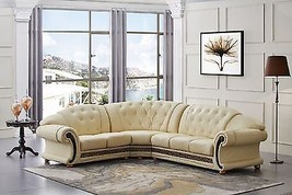Versace Beige Genuine Top Grain Italian Leather Luxurious Sectional Sofa Left