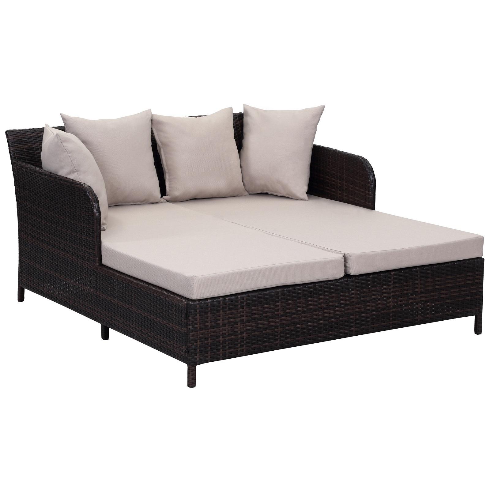 Outdoor Wicker Furniture Patio Daybed Backyard Sofa Pool