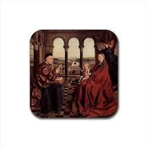 The Virgin of Ivers Jan Van Eyck Non-Slip Drink/Beer Coaster Set - $6.74