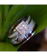 2 pc White Camo Ring Koa Wood Silver Engagement ring Womens Wedding Rings - $58.99