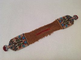 Brown Knit Coin Purse w/ Multi-Colored Beads Native North American Tribal Design