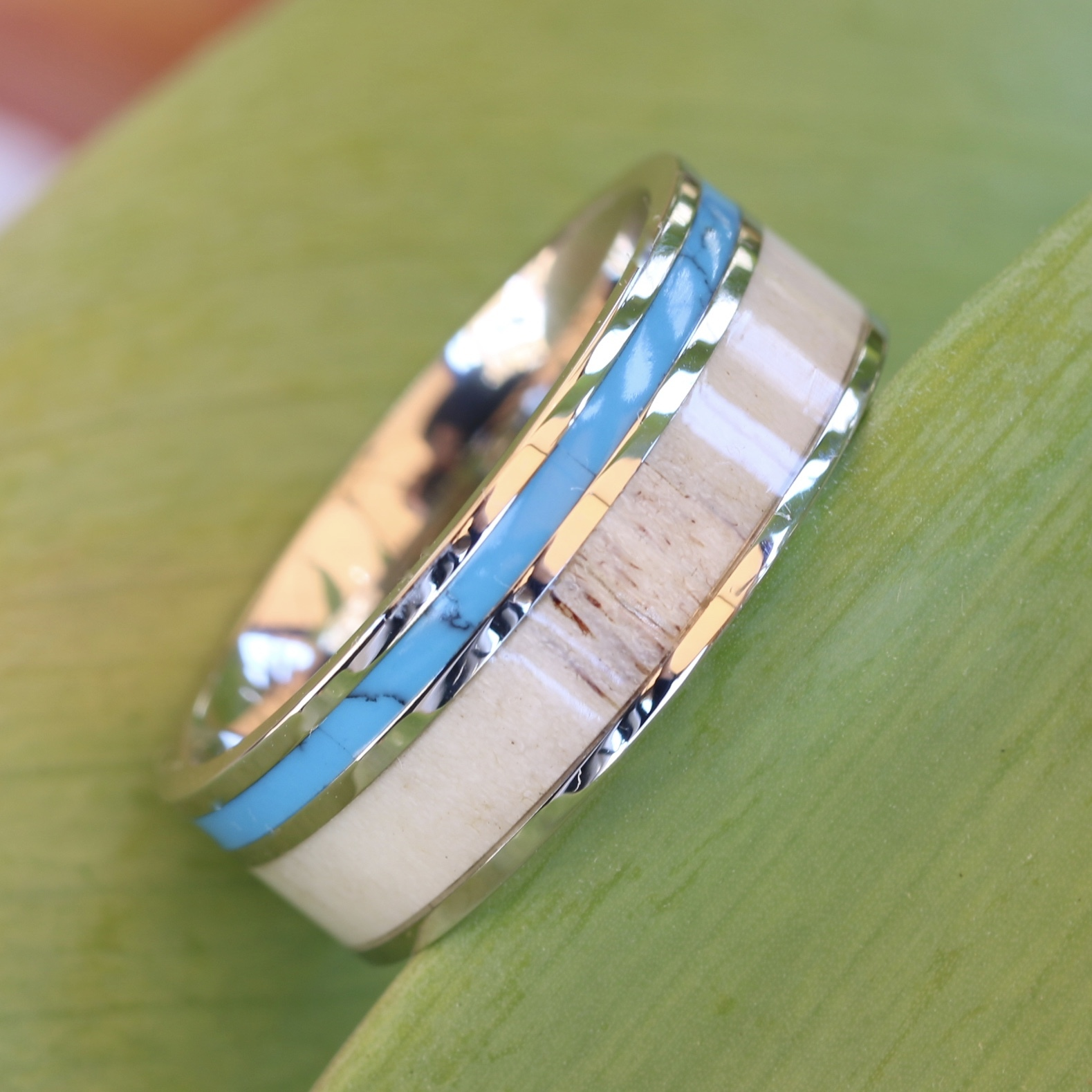 Deer antler ring with turquoise inlay mens womens wedding for Mens turquoise wedding rings