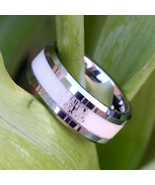 Natural Deer Antler Ring Mens Band Womens Wedding Ring Tungsten Hunter R... - $99.99