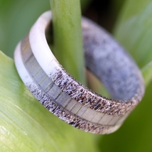 Natural Deer Antler Hunter Ring with Grey Koa W... - $65.99