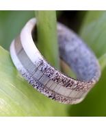 Natural Deer Antler Hunter Ring with Grey Koa Wood Mens Band Womens Wedd... - $65.99