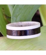 Natural Deer Antler Hunter Ring with Thick Koa Wood Mens Womens Wedding ... - $65.99