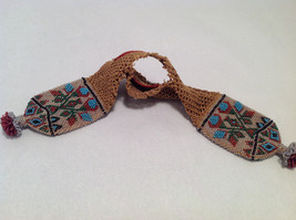 Brown Knit Coin Purse w/ Multi-Colored Beads Native North American Tribal Design image 5