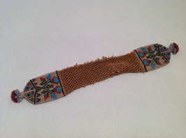 Brown Knit Coin Purse w/ Multi-Colored Beads Native North American Tribal Design image 4