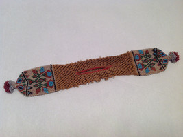 Brown Knit Coin Purse w/ Multi-Colored Beads Native North American Tribal Design image 6