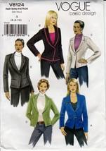 Vogue Basic Design Pattern 8124 Misses Lined Ja... - $8.99