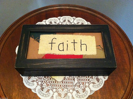 """Faith"" Hand Stitched into Quilted Lid of Black Wooden Box"