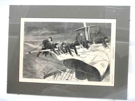 1869 antique ORIG. WINSLOW HOMER WINTER AT SEA PRINT harper's weekly FRAMED - $42.08