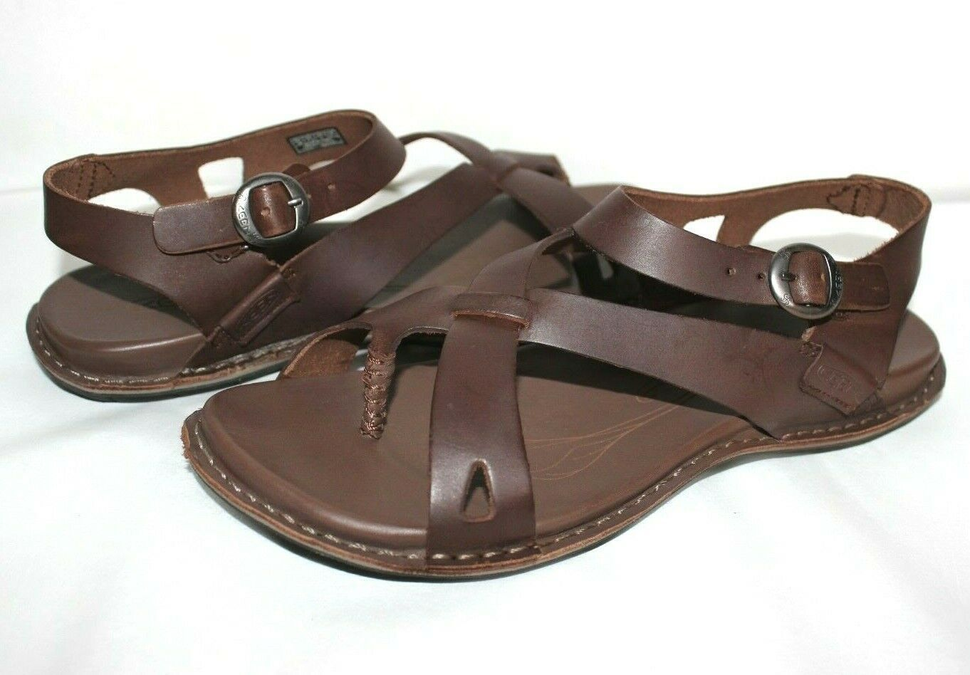 Primary image for ✿ KEEN Alman Dark Brown Leather Ankle-Strap Sandals 7.5 M EXCELLENT!  L@@K!28