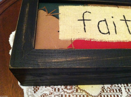 """Faith"" Hand Stitched into Quilted Lid of Black Wooden Box image 2"
