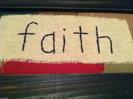 """Faith"" Hand Stitched into Quilted Lid of Black Wooden Box image 3"