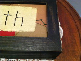"""Faith"" Hand Stitched into Quilted Lid of Black Wooden Box image 4"