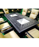 Propane Fire Pit Table Set 9 Piece Patio Furniture Outdoor Dining Elisabeth - $3,395.00