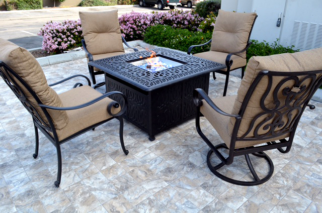 Conversation patio set Propane fire pit table outdoor cast aluminum Tortuga