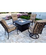 Conversation patio set Propane fire pit table outdoor cast aluminum Tortuga - $2,995.00