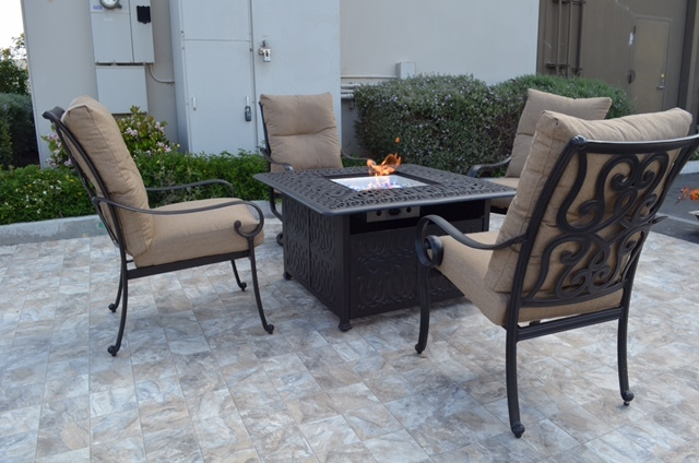 Conversation patio set Propane fire pit table outdoor cast aluminum Tortuga image 2