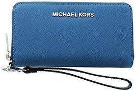 Michael Kors Jet Set Women's Smartphone Wallet Pocket Book Blue - $132.66