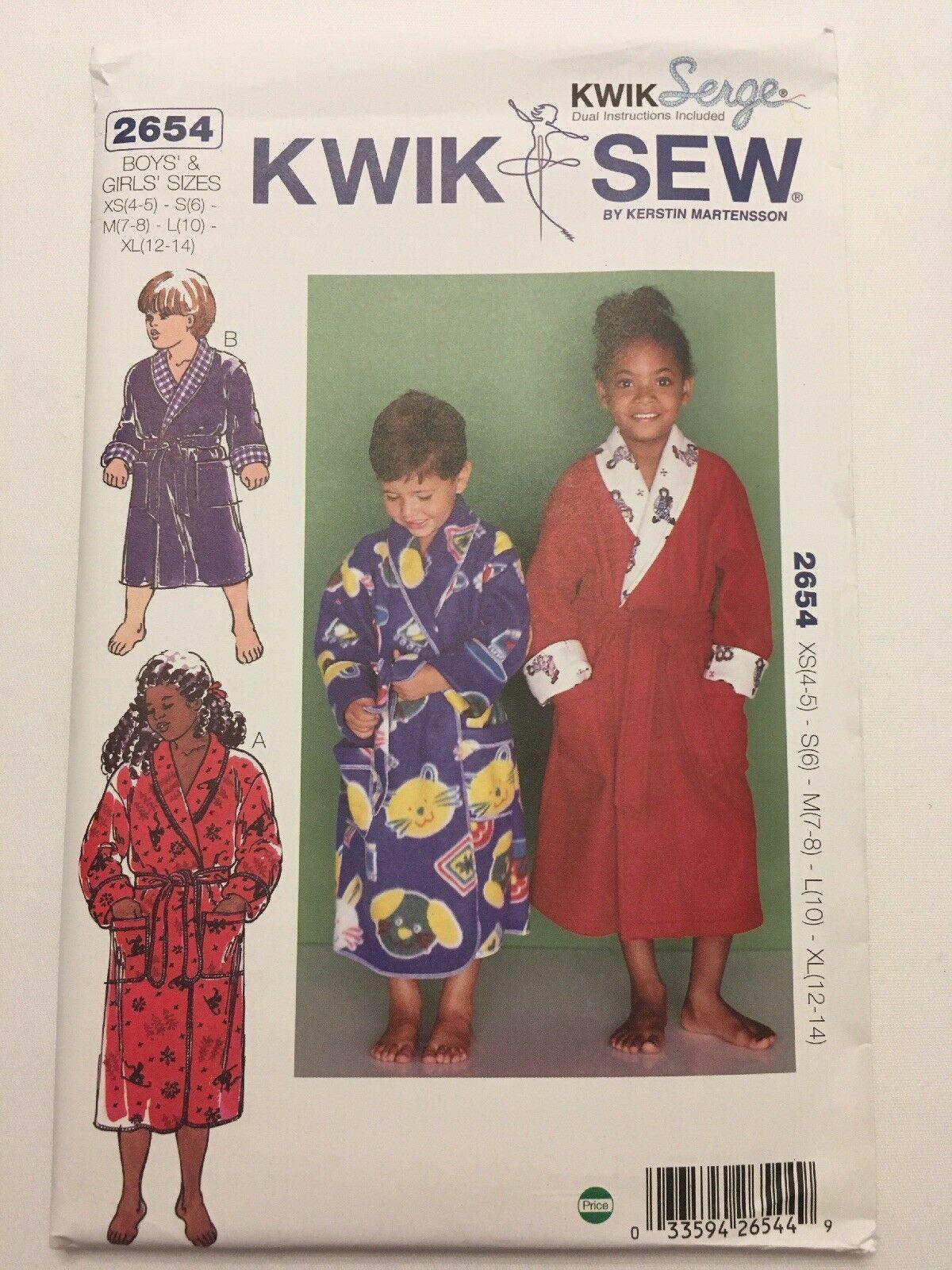 Kwik Sew 2654 Wrap Robes Children Boy Girl Sewing Pattern Size XS-XL Uncut