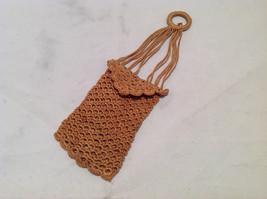 Vintage Boho Crochet Purse Light Sandy Tan Brown w/ Hanging Ring & Rope Straps