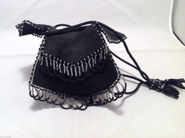 Vintage Boho Black Suede Coin Purse Mini Handbag Bag w/ Bead Fringe Rope Handles