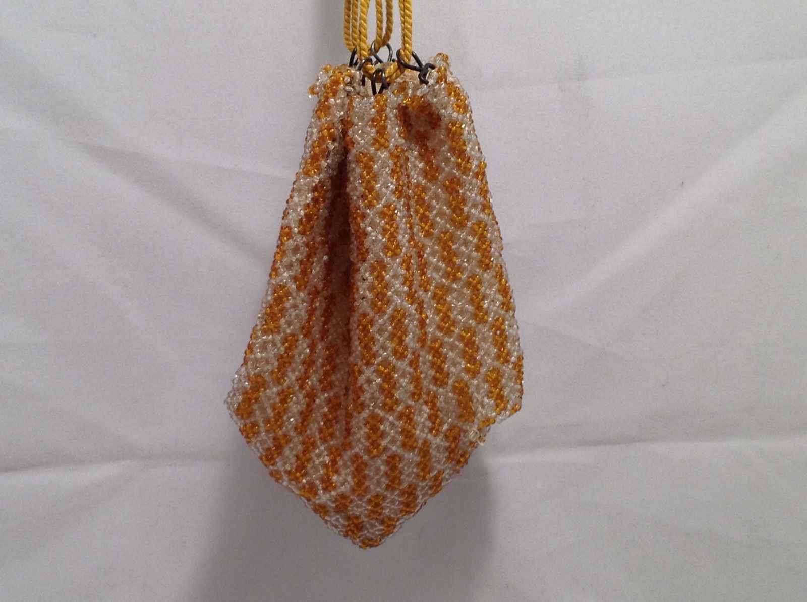 Vintage Beaded Purse Geometric Checker Design Gold-Yellow & White w/ Rope Straps