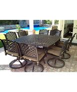 Outdoor dining furniture Nassau Cast Aluminum 9pc patio set Antique Bronze - $2,855.00