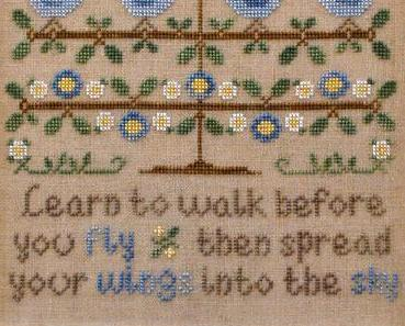 Walk Before You Fly blubirds cross stitch chart Country Cottage Needleworks
