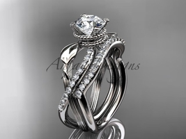 Nature inspired engagement ring, 14kt white gold diamond leaf and flower wedding - $2,015.00
