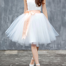 White Pink Tutu Tulle Skirt Puffy 4 Layered Party Full Circle Tulle Skirt Knee  image 10
