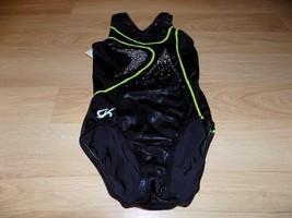 Child Size Large GK Elite Black Green Foil Competition Leotard Gymnastic... - $28.00