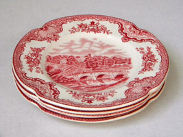"""7- Johnson Brothers """" Old Britain Castles"""" Bread Plates England Red Pink - $37.01"""