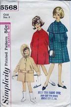 Vintage 60s Pattern Simplicity 5568 Girls Rain Coat Detachable Hood Cape... - $8.99