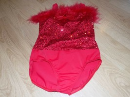 "Size IC Small 21"" Weissman Solid Red Sequined Dance Leotard Feathered Bo... - $28.00"