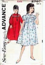 Vintage 60s Pattern Advance 2707 Girls Square Yoke Nightgown Size 12 - $8.99