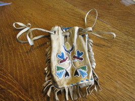 INDIAN (NATIVE AMERICAN) LEATHER BAG BEADED - F... - $125.00