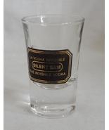Silent Sam The Invisible Vodka 1 oz Shot Glass Barware Black Gold Logo - $2.99