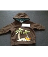 Gymboree Size 0-3 Months Cuddly Crab Brown Hoodie Jacket NWT Palm Trees - $9.94