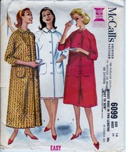 Vtg 60s Pattern 6099 Misses Robe Two Lengths Front Button Raglan Sleeve ... - $8.99
