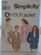 Simplicity 8301 Misses 4 Hour Jacket  Size 10, 12, 14, 16  Dated 1993, New - $5.75