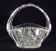 """Basket Vase Handled Clear Crystal Cut Buzz Saw Sides 5.5"""" Tall Elegant - $4.50"""