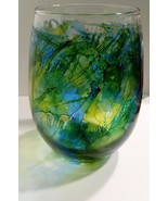 Unique Citrus Stained Stemless Wine Glass Summer Barware Glassware Wine ... - $10.00